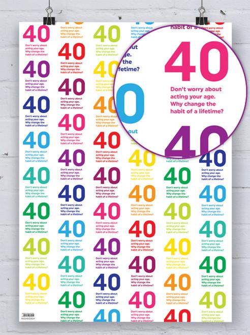40th Birthday Quotish Gift Wrap