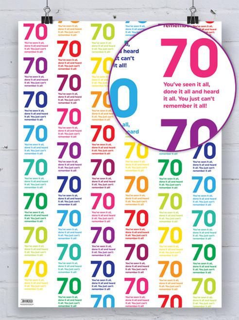 70th Birthday Quotish Gift Wrap