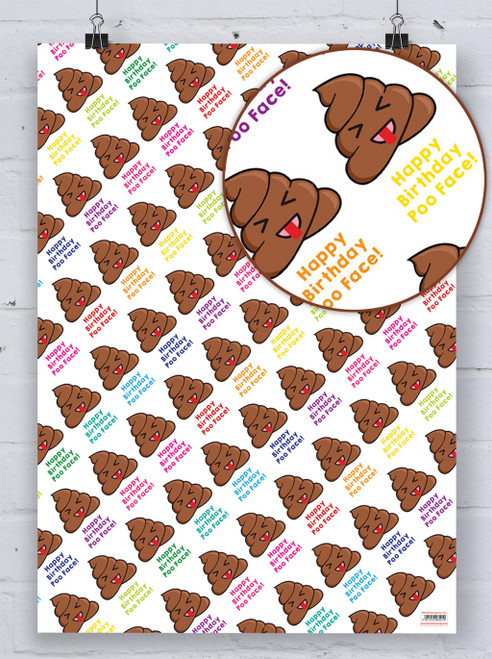 Poo Face Birthday Gift Wrap