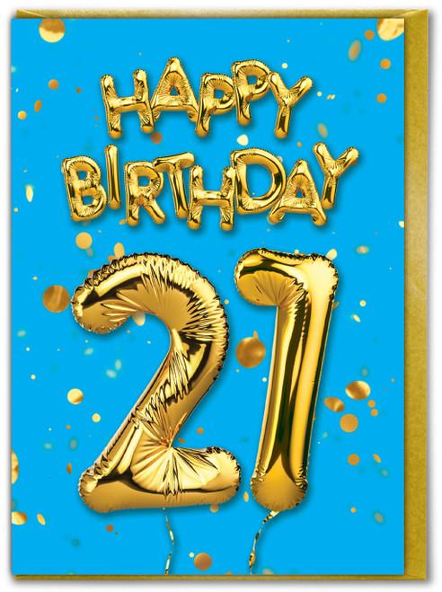 21st Birthday Balloon Card Blue