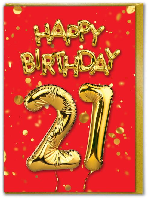 21st Birthday Balloon Card Red