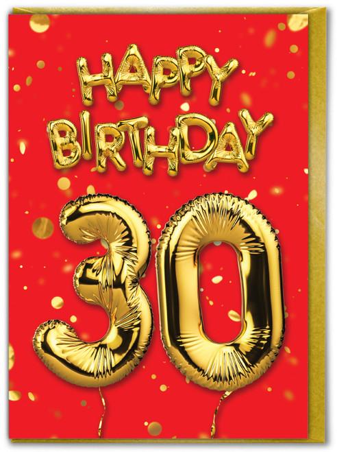 30th Birthday Balloon Card Red