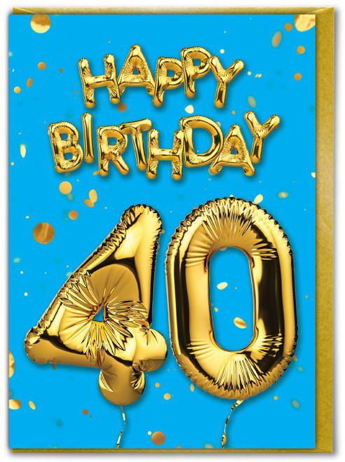 40th Birthday Balloon Card Blue