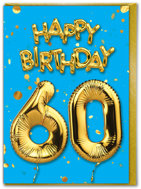60th Birthday Balloon Card Blue