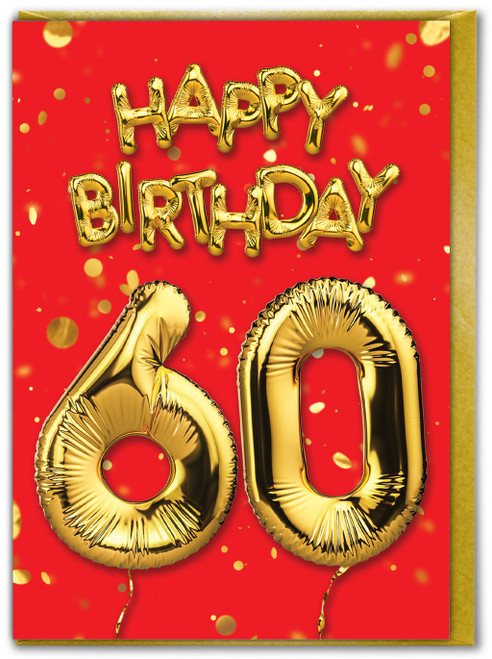 60th Birthday Balloon Card Red