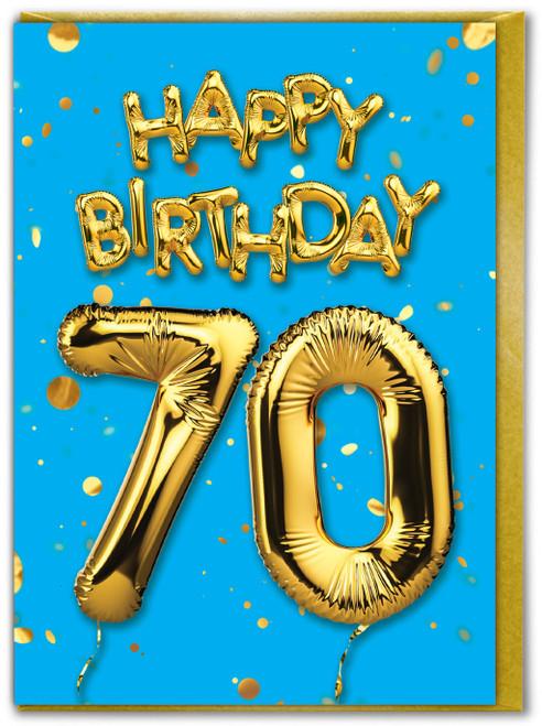 70th Birthday Balloon Card Blue