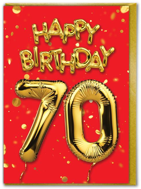 70th Birthday Balloon Card Red