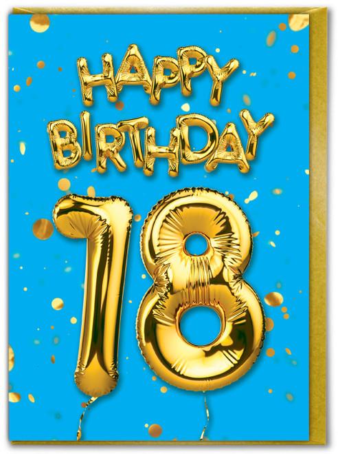 18th Birthday Balloon Card Blue