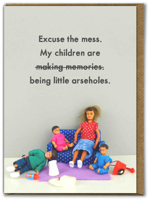 Children Being Arseholes Mothers Day Card