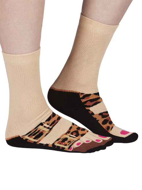 Ladies Leopard Print Slider Socks