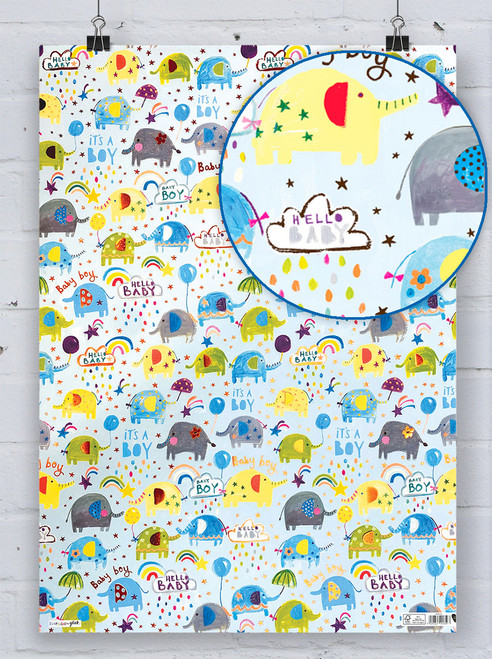 Baby Boy Elephant Gift Wrap