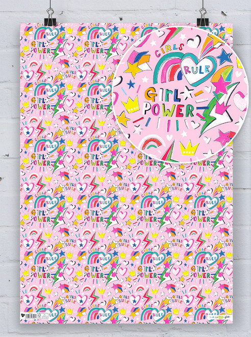 Girl Power Pink Gift Wrap