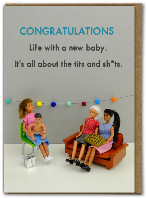 Tits and Shits  New Baby Card