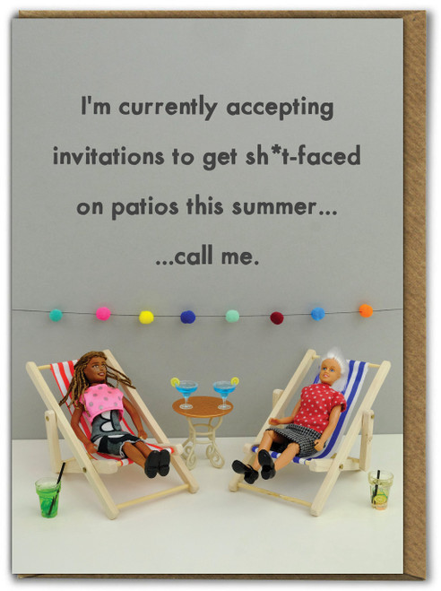 Shit Faced On The Patio Greetings Card