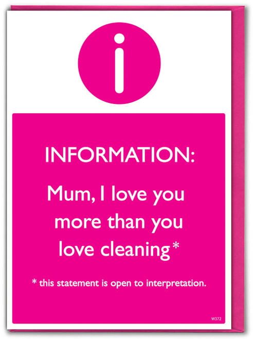 Mum Love You More Than Cleaning