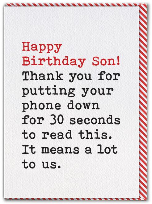 Son Phone Down Card