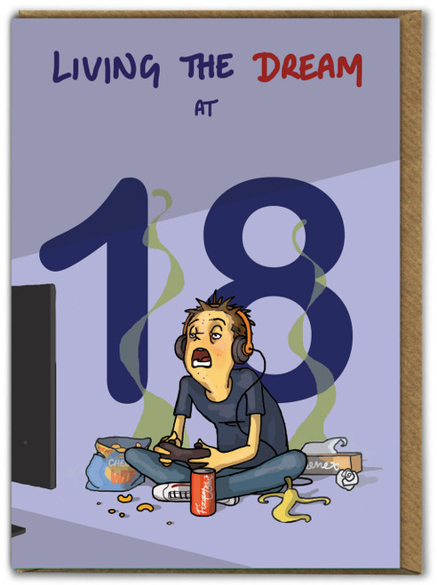 Living The Dream 18th Birthday Card For Him