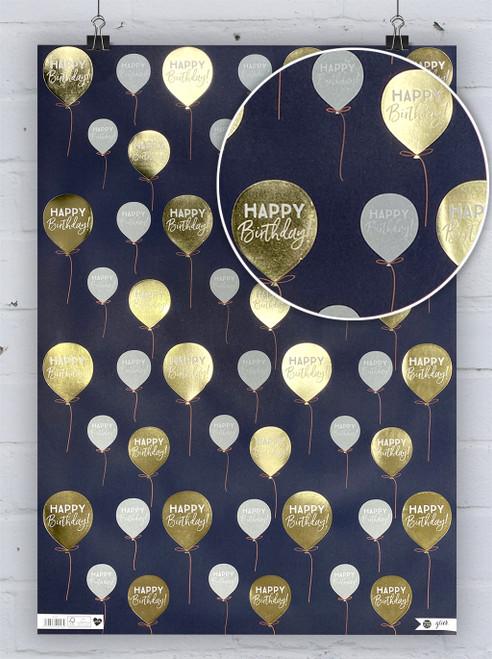 Blue & Gold Balloon Gift Wrap