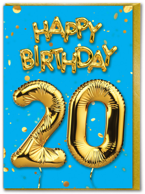 20th Birthday Balloon Card Blue