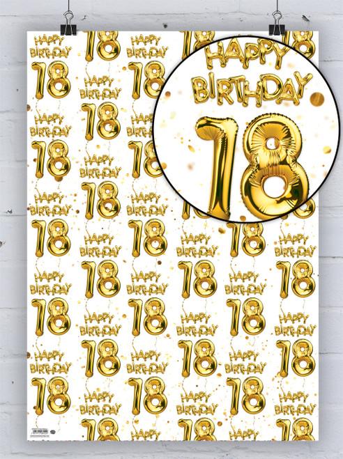 18th Birthday White Gold Balloon Gift Wrap