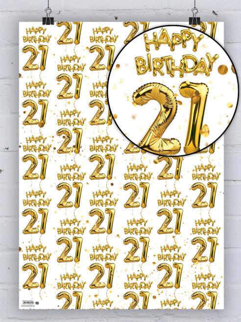 21st Birthday White Gold Balloon Gift Wrap