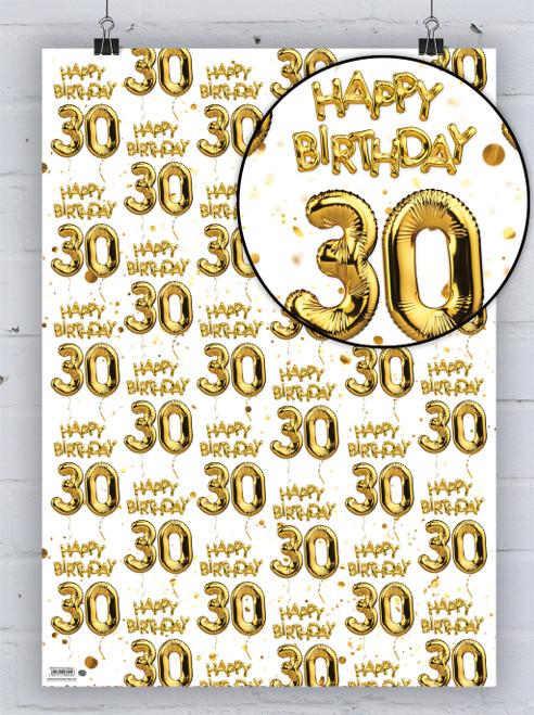 30th Birthday White Gold Balloon Gift Wrap
