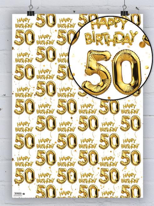 50th Birthday White Gold Balloon Gift Wrap