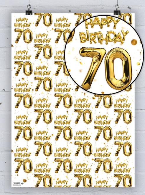 70th Birthday White Gold Balloon Gift Wrap