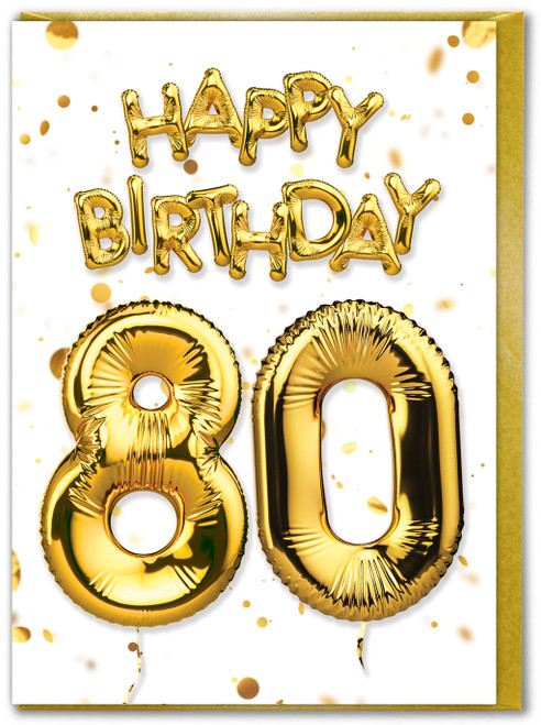 80th Birthday Balloon Gold