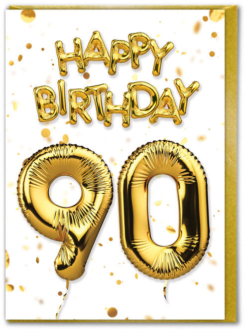 90th Birthday Balloon Gold