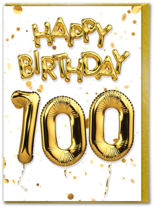 100th Birthday Balloon Gold