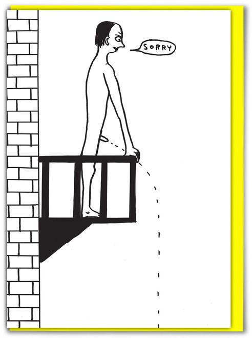 David Shrigley Sorry Wee Off Balcony Card