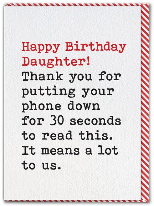 Daughter Phone Down Card