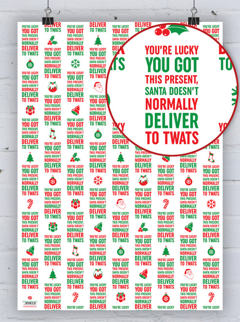 Deliver To Twats Christmas Gift Wrap