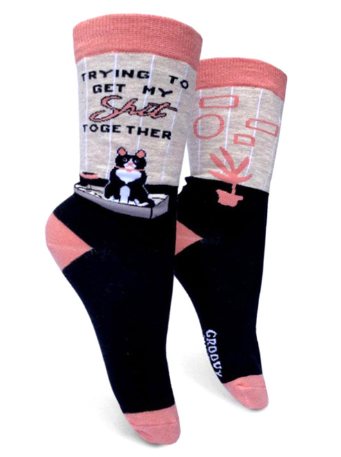 Trying To Get My Shit Together Cat Womens Socks