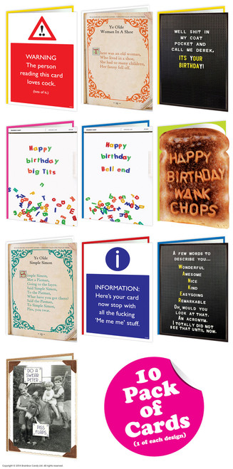 10 Multipack Of Cheeky Greeting Cards