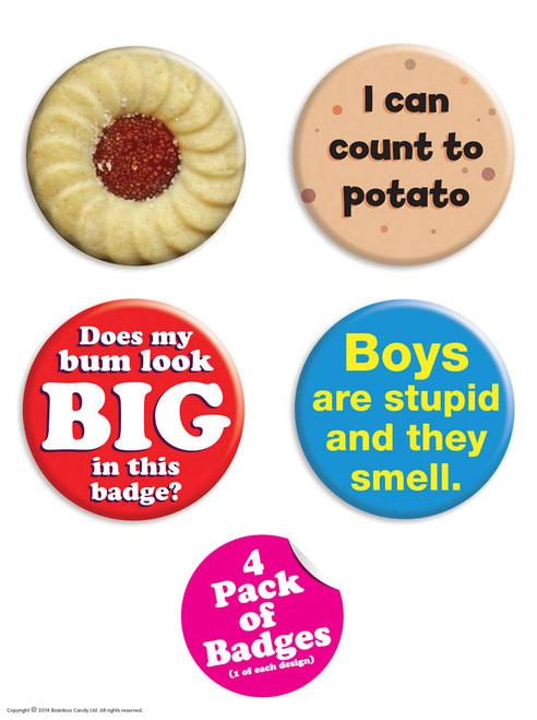 Funny Badges 4 Pack - Pack 1