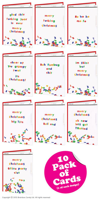 10 Pack Of Rude Christmas Cards - Well Cool Range