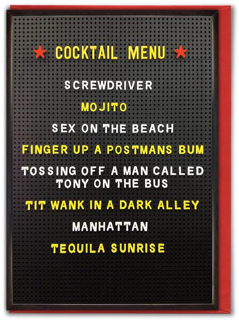 Cocktail Menu Birthday Card