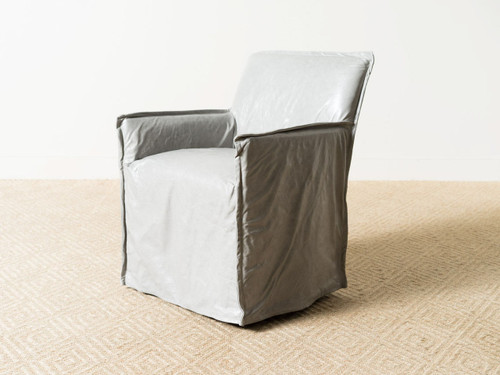 DUVAL LEATHER CHAIR PEWTER