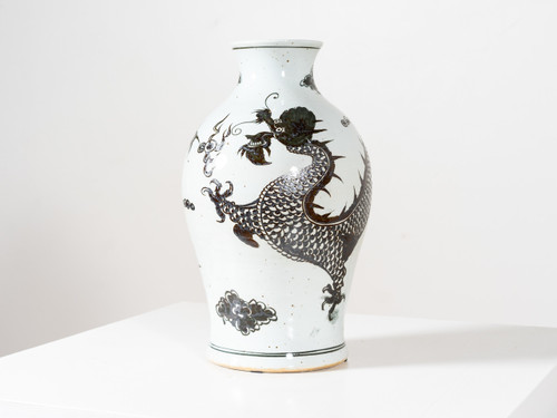 BROWN DRAGON KWANYIN VASE