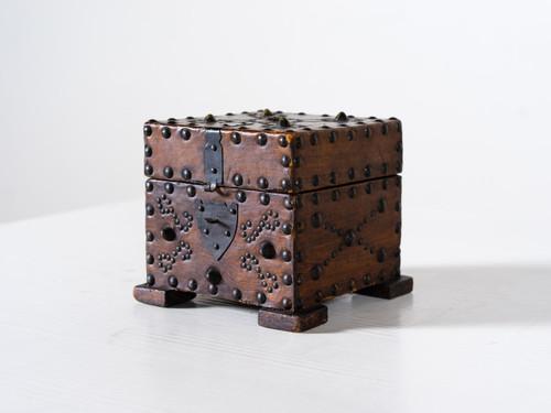 ANTIQUE LEATHER-CASED BOX