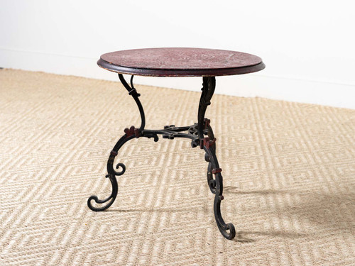 ANTIQUE WOOD-TOPPED IRON TABLE