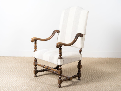 ANTIQUE WOOD FAUTEUIL STRIPED