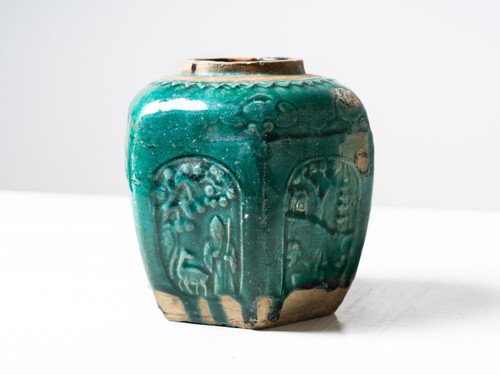 ANTIQUE EMBOSSED GREEN POT I