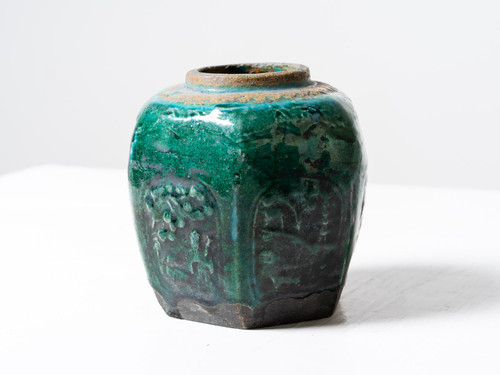 ANTIQUE EMBOSSED GREEN POT II