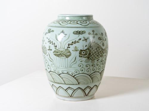 PORCELAIN FISH JAR