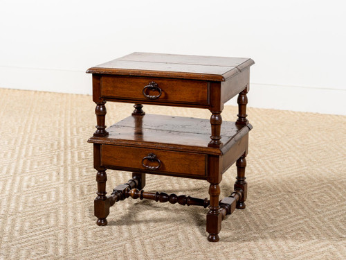 ANTIQUE TWO-TIERED SIDE TABLE