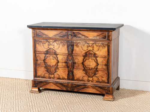ANTIQUE MARBLE TOPPED VENEER CHEST