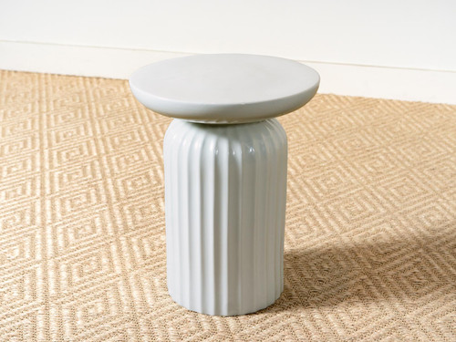 PORCELAIN FLUTED SIDE TABLE